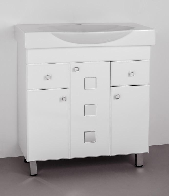 Тумба с раковиной белый глянец 76,5 см Style Line Крокус LC-00000284T цены онлайн