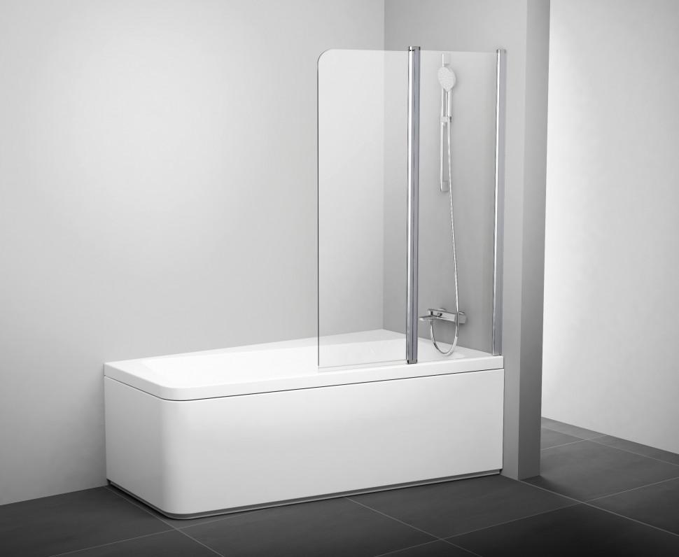 Шторка для ванны двухэлементная к ваннам 10° Ravak 10CVS2-100 R блестящий+транспарент 7QRA0C03Z1