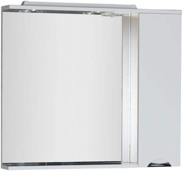 Зеркальный шкаф 98,6х87 см с подсветкой белый/светлый дуб Aquanet Гретта 00173988 цена в Москве и Питере