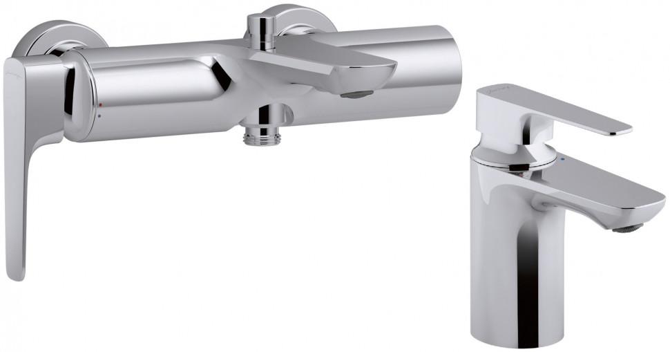 Фото - Комплект смесителей Jacob Delafon Aleo+ E72319-CP + E72314-CP смеситель для ванны с подключением душа jacob delafon aleo e72319 cp однорычажный