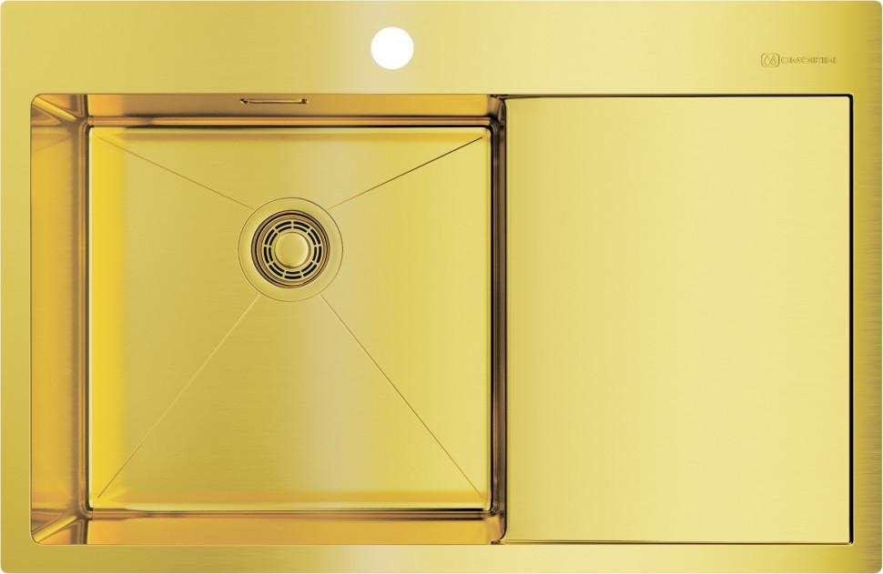 Кухонная мойка светлое золото Omoikiri Akisame 78-LG-L мойка кухонная omoikiri akisame 41 lg 410 510 светлое золото 4973080