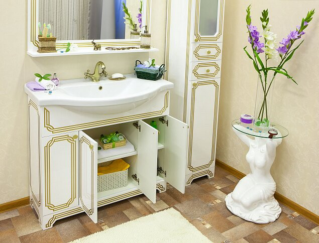 Фото - Тумба белый золотая патина 95,2 см Sanflor Каир H0000000219 зеркало 117 1х88 4 см белый золотая патина sanflor каир h0000000208