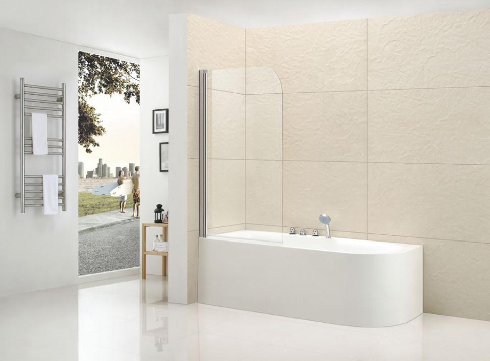 Шторка для ванны Cezares Eco 80 см текстурное стекло ECO-V-1-80/140-P-Cr-L