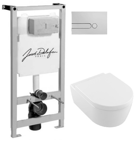 Комплект подвесной унитаз Villeroy & Boch Avento 5656HR01 + система инсталляции Jacob Delafon E5504-NF E4326CP