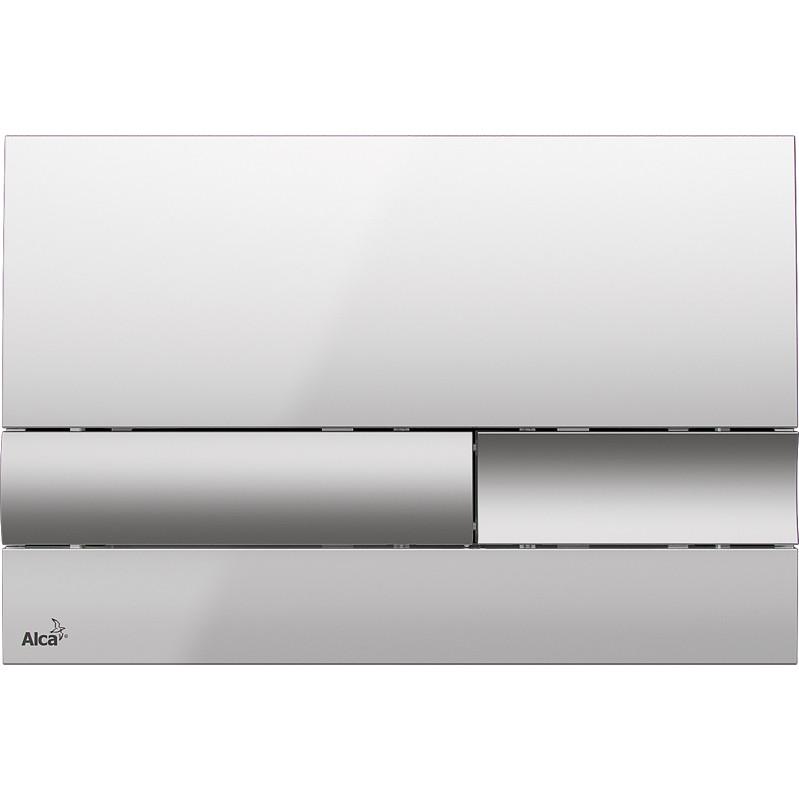 Фото - Смывная клавиша глянцевый хром/матовый хром для двойного смыва AlcaPlast M1743 клавиша смыва alcaplast хром глянцевая m1741