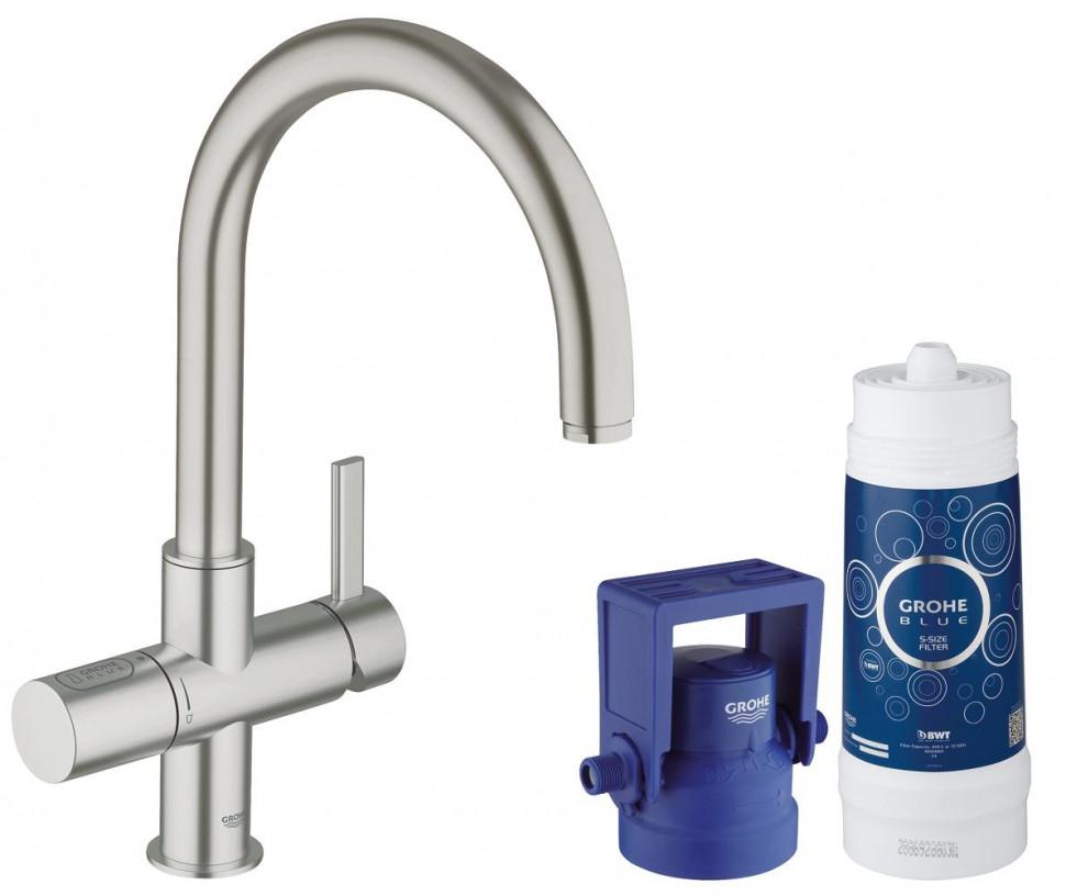 Смеситель для мойки с функцией очистки водопроводной воды Grohe Blue Pure 33249DC1 grohe blue pure 33249001 для кухонной мойки