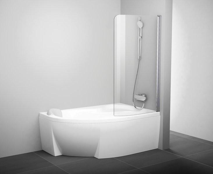 Шторка для ванны одноэлементная Ravak CVSK1 85 П блестящая+транспарент 7QRM0C00Y1