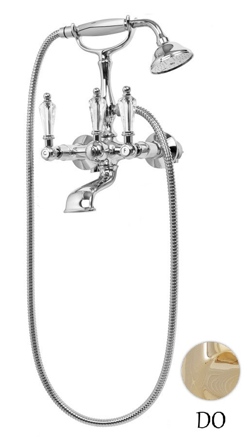 Смеситель для ванны с ручным душем золото 24 карат, ручки Swarovski Cezares Diamond DIAMOND-VD-03/24-Sw cezares retro со смесителем для ванны верхним и ручным душем золото retro cvd1 03