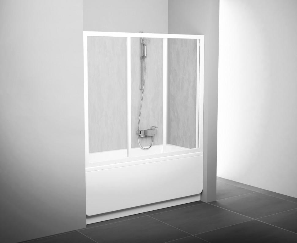 Шторка для ванны Ravak AVDP3 - 160 белый Rain 40VS010241 шторка для ванны ravak vs2 105 профиль хром матовое стекло