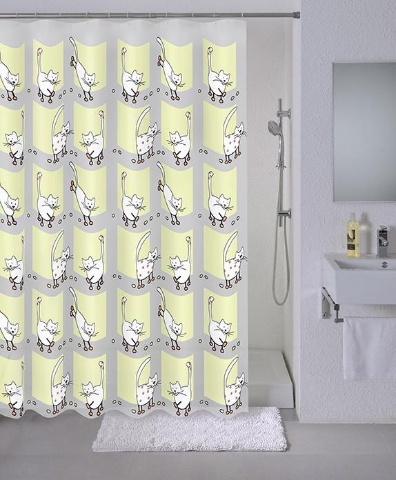 Штора для ванной комнаты Milardo Cozy cats 528V180M11 шторы и карнизы для ванной fototende фотошторы для ванной cats
