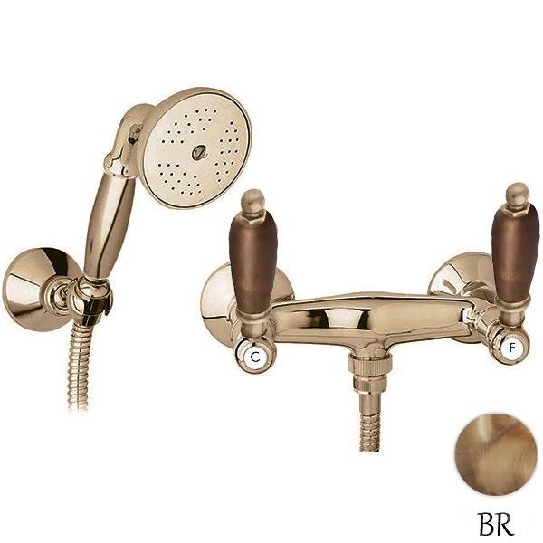 Смеситель для душа с ручным душем бронза, ручки орех Cezares First FIRST-D-02-Nc micoe смеситель для душа для ванной комнаты термостатический клапан с квадратным 8 дюймовым душем и ручным душем m a10326 1d
