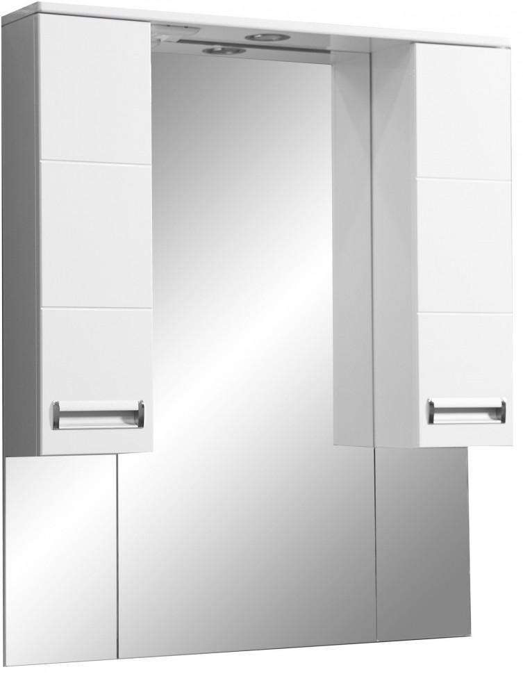Зеркальный шкаф 90х70 см белый глянец/белый матовый Stella Polar Фиора SP-00000211 фото