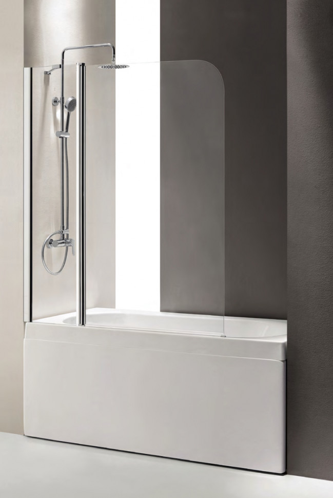 Шторка для ванны Cezares Eco 120 см прозрачное стекло ECO-O-V-11-120/140-C-Cr