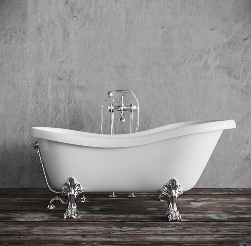 Ванна из литого мрамора хромированные лапы 176х80 см Tiffany World TW176bi/cr
