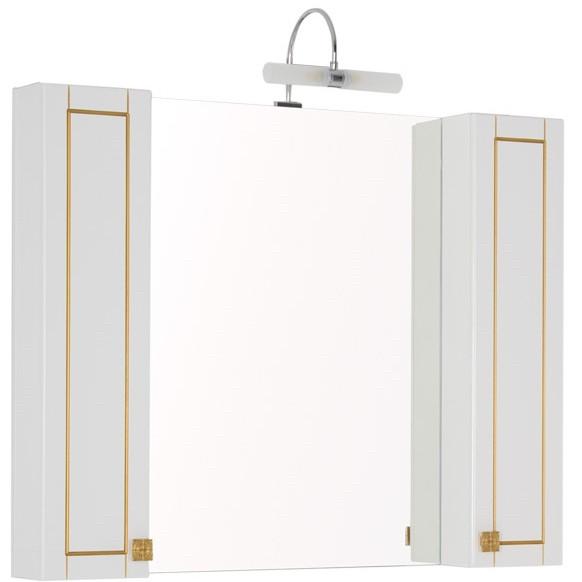 Зеркальный шкаф 105х85 см белый/патина золото Aquanet Честер 00186084 зеркальный шкаф 55х88 1 см белый aquanet стайл 00181511
