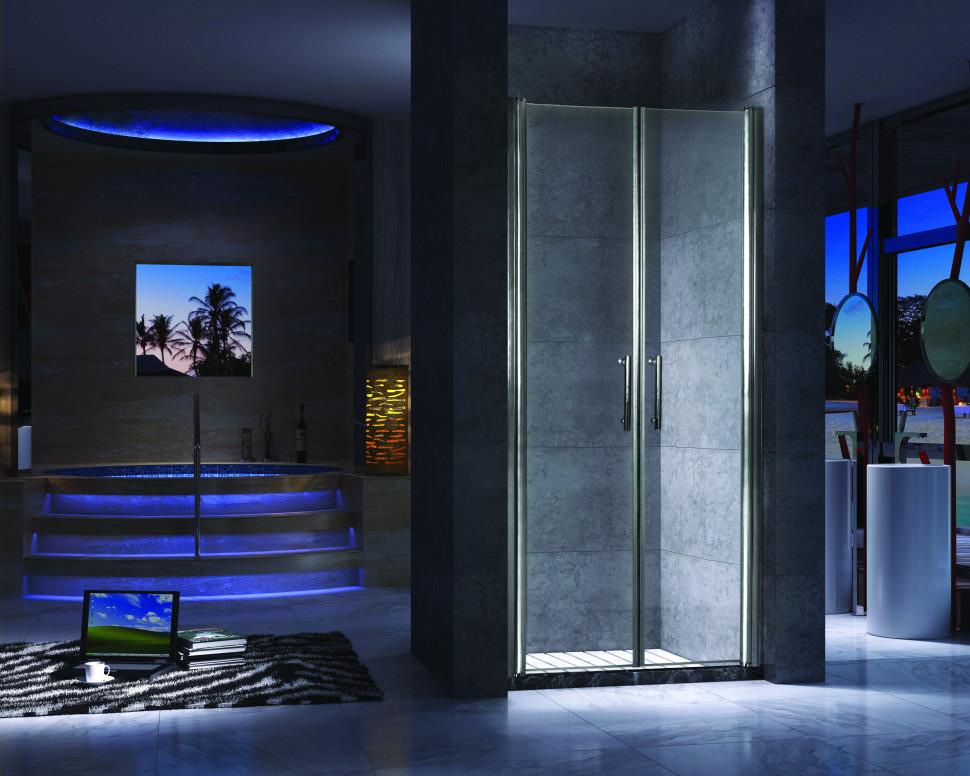 Душевая дверь распашная 120 см прозрачное стекло Esbano ES-120-2LD шторка для ванны 150 см esbano es 1415 прозрачное
