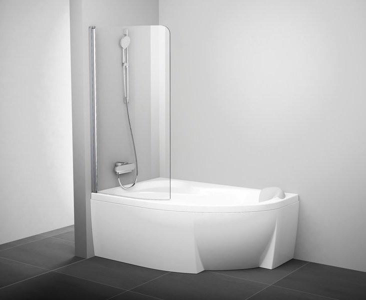 Шторка для ванны одноэлементная Ravak CVSK1 100 Л белая+транспарент 7QLS0100Y1 недорого
