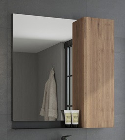 Зеркальный шкаф 73х80 см дуб темный/черный муар Comforty Кёльн 00004149061 зеркальный шкаф comforty кёльн 88 дуб темный 00004147987