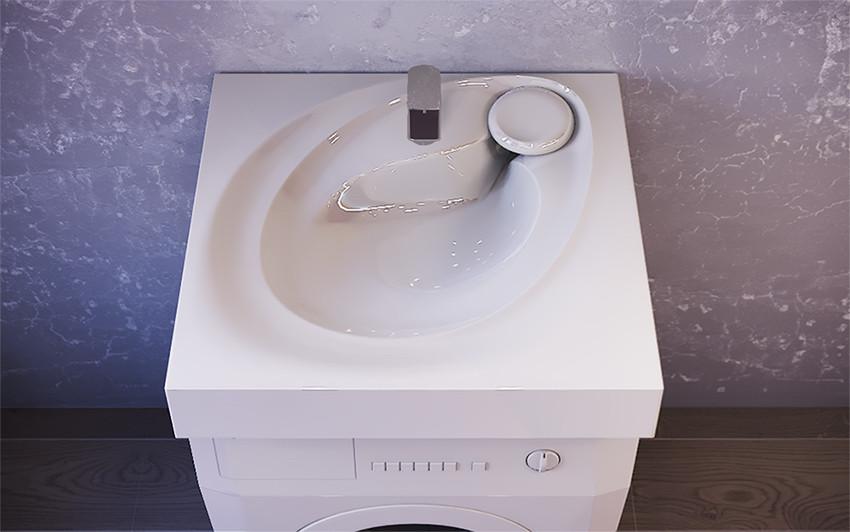 Раковина над стиральной машиной 60,2х55,1 см с кронштейнами Raval Perla Per.08.60/W