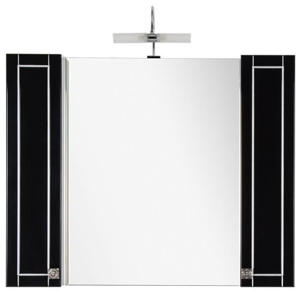 Зеркальный шкаф 105х85 см черный/патина серебро Aquanet Честер 00186086