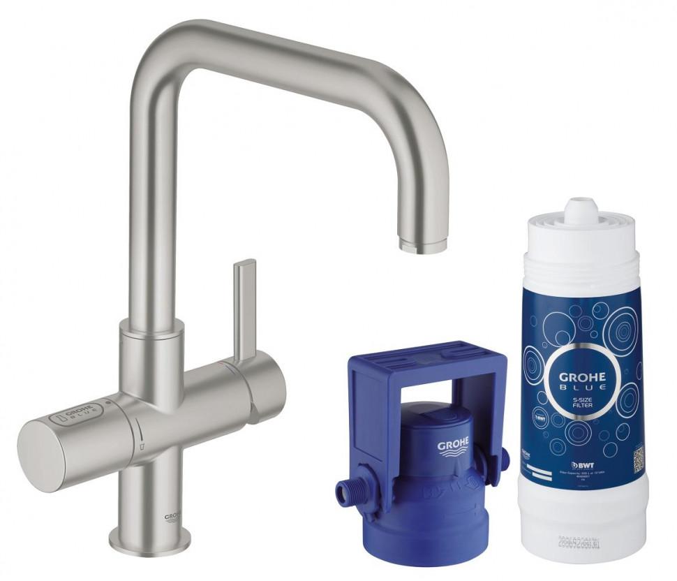 Смеситель для мойки с функцией очистки водопроводной воды Grohe Blue Pure 31299DC1 grohe blue pure 33249001 для кухонной мойки