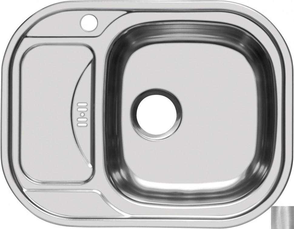 Кухонная мойка матовая сталь Ukinox Галант GAM628.488 -GW5K 1R
