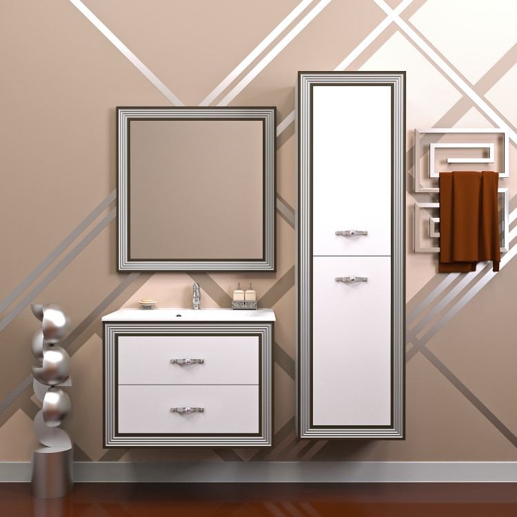 Комплект мебели белый серебряная патина 100 см Opadiris Карат KARAT100KOMAG opadiris мебель для ванной opadiris карат 80 серебряная патина