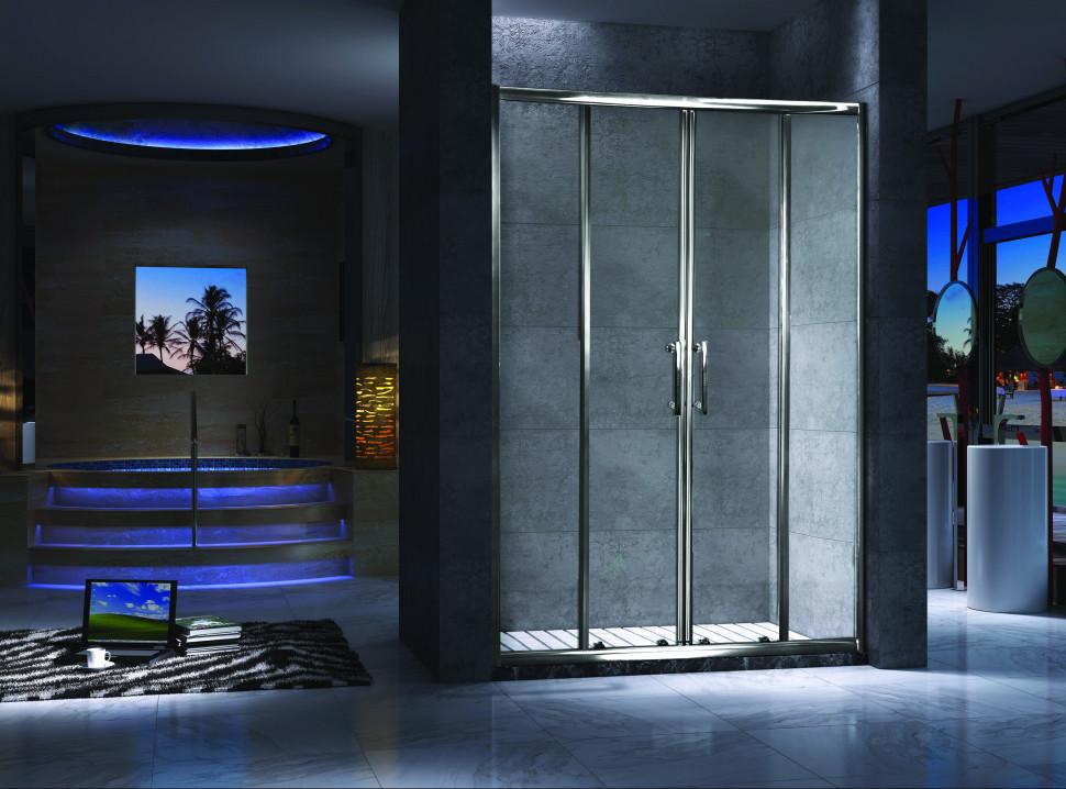 Душевая дверь раздвижная 140 см прозрачное стекло Esbano ES-140DW шторка для ванны 150 см esbano es 1415 прозрачное