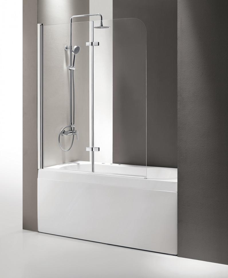 Шторка для ванны Cezares Eco 120 см текстурное стекло ECO-O-V-21-120/140-P-Cr-L