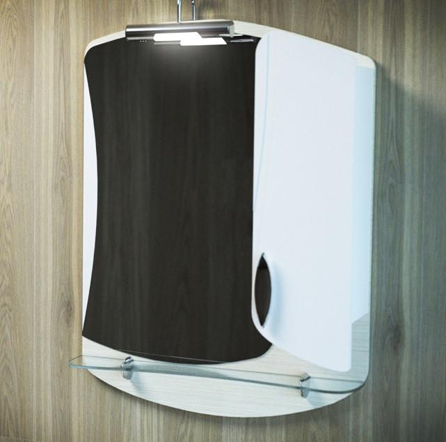 Зеркальный шкаф 60х87 см темный лен/белый Velvex Belvento Apelsin zsAPE.60-26.21.11