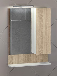 Зеркальный шкаф 60х80 см дуб сонома/белый Comforty Рига 00004142211 зеркальный шкаф comforty кёльн 88 дуб темный 00004147987