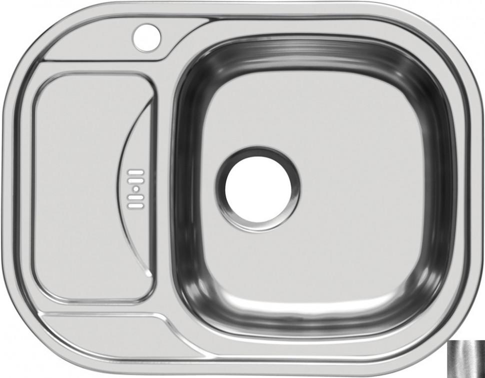 Кухонная мойка полированная сталь Ukinox Галант GAP628.488 -GW8K 1R кухонная мойка полированная сталь ukinox фаворит fap770 480 gw8k 2l