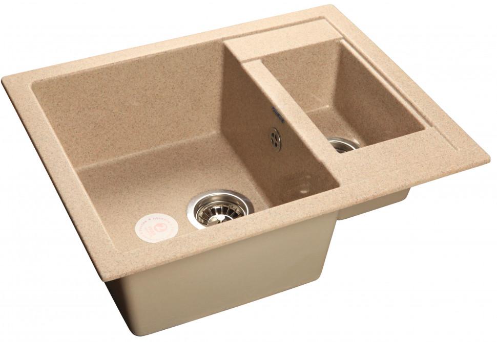 Кухонная мойка песочный GranFest Quadro GF-Q610K кухонная мойка песочный granfest quadro gf q650l