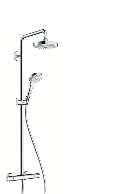 Душевая система EcoSmart 9 л/мин Hansgrohe Croma Select S 180 2jet Showerpipe 27254400 душевая система hansgrohe croma select e 180 2jet showerpipe 27258400