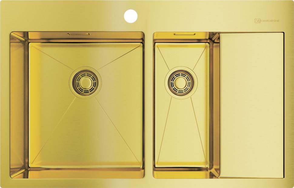 Кухонная мойка светлое золото Omoikiri Akisame 78-2-LG-L мойка кухонная omoikiri akisame 41 lg 410 510 светлое золото 4973080