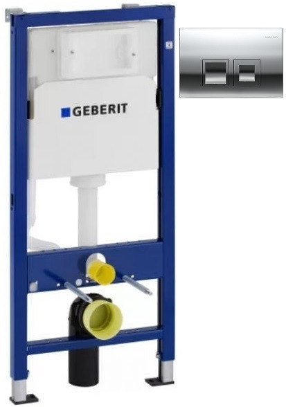 Монтажный элемент для подвесного унитаза + смывная клавиша Geberit DuofixBasic Delta50 глянцевый хром 458.103.00.1 + 115.135.21.1 фото