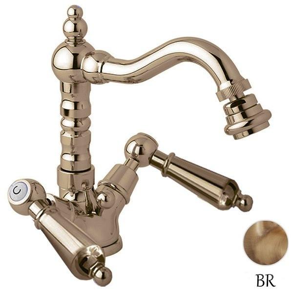 Смеситель для биде с донным клапаном бронза, ручки металл Cezares First FIRST-BS2-02-M