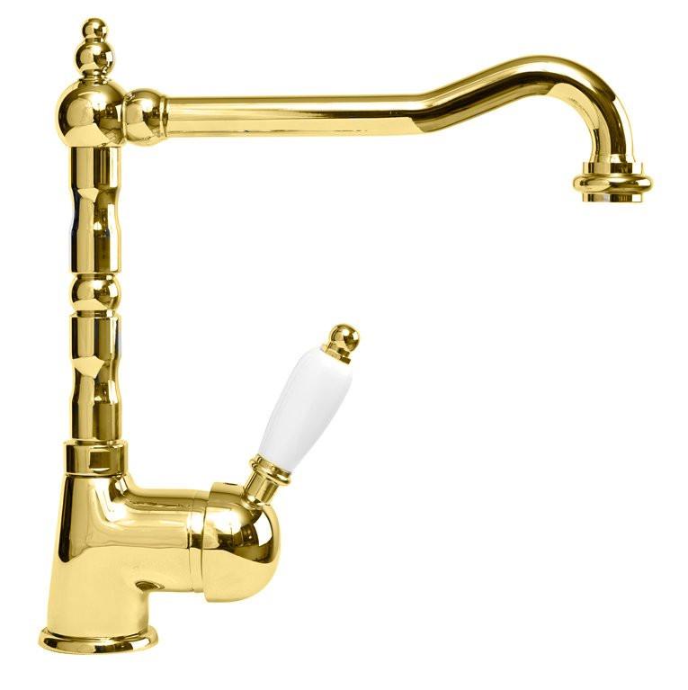 Смеситель для кухни золото 24 карат, ручка белая Cezares Elite ELITE-LLM2-03/24-Bi