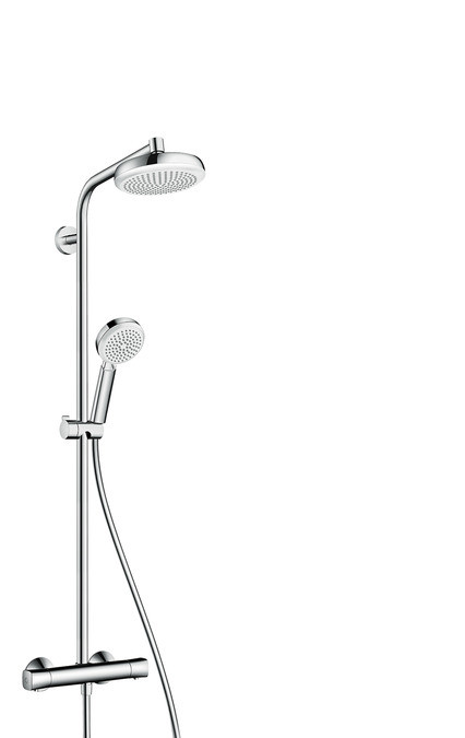 Фото - Душевая система EcoSmart 9 л/мин Hansgrohe Crometta 160 1jet Showerpipe 27265400 верхний душ hansgrohe crometta s 240 1jet ecosmart 9 л мин 26724000