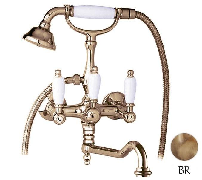 Смеситель для ванны с ручным душем бронза, ручки белые Cezares First FIRST-VDF-02-Bi
