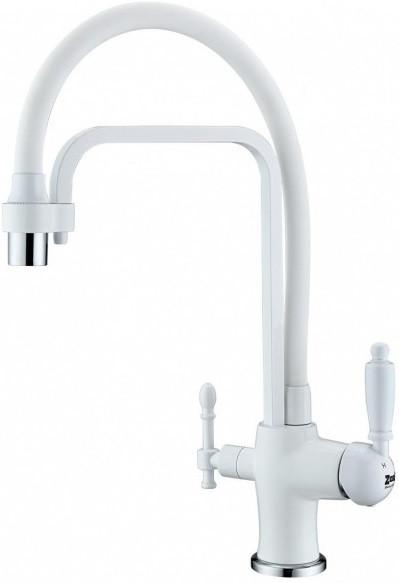 Смеситель для кухни с подключением к фильтру Zorg Sanitary ZR 342-8 YF WHITE