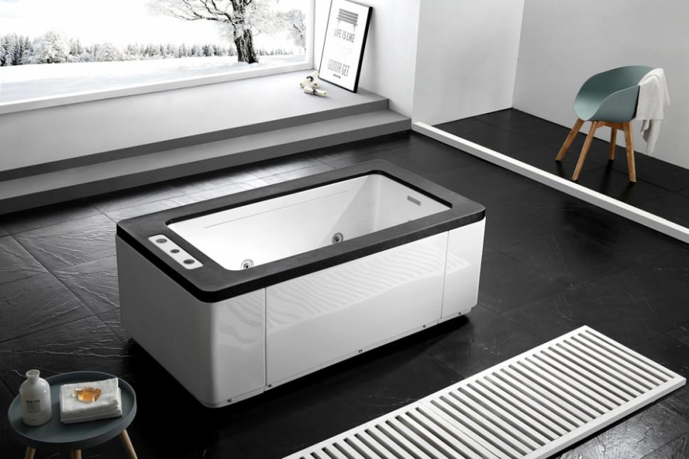 Акриловая гидромассажная ванна 170х90 см Gemy G9253 Black