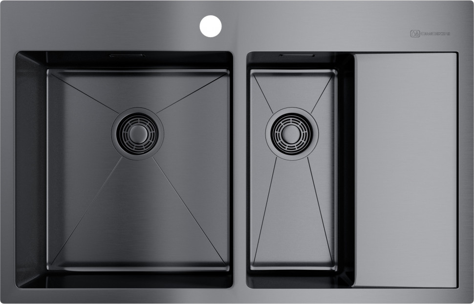 Кухонная мойка вороненая сталь Omoikiri Akisame 78-2-GM-L