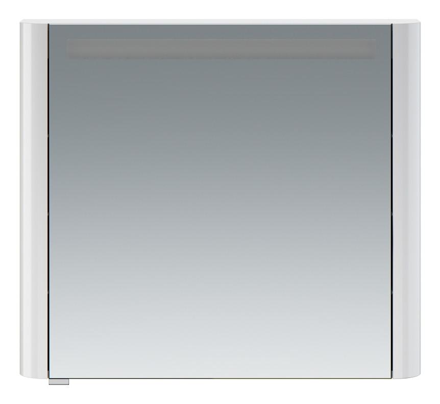 Зеркальный шкаф 80х70 см белый глянец R Am.Pm Sensation M30MCR0801WG зеркальный шкаф am pm sensation 80 правый с подсветкой белый глянец m30mcr0801wg
