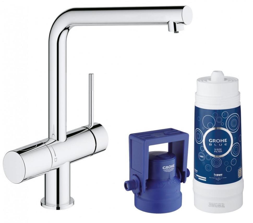 Смеситель для мойки с функцией очистки водопроводной воды Grohe Blue Minta Pure 31345002 grohe blue pure 33249001 для кухонной мойки
