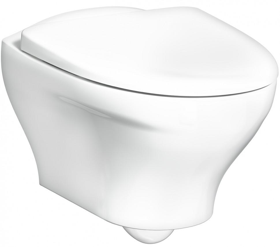 Подвесной унитаз безободковый с сиденьем микролифт белый Gustavsberg Estetic C+ GB1183300R1030 estetic form phyto slim