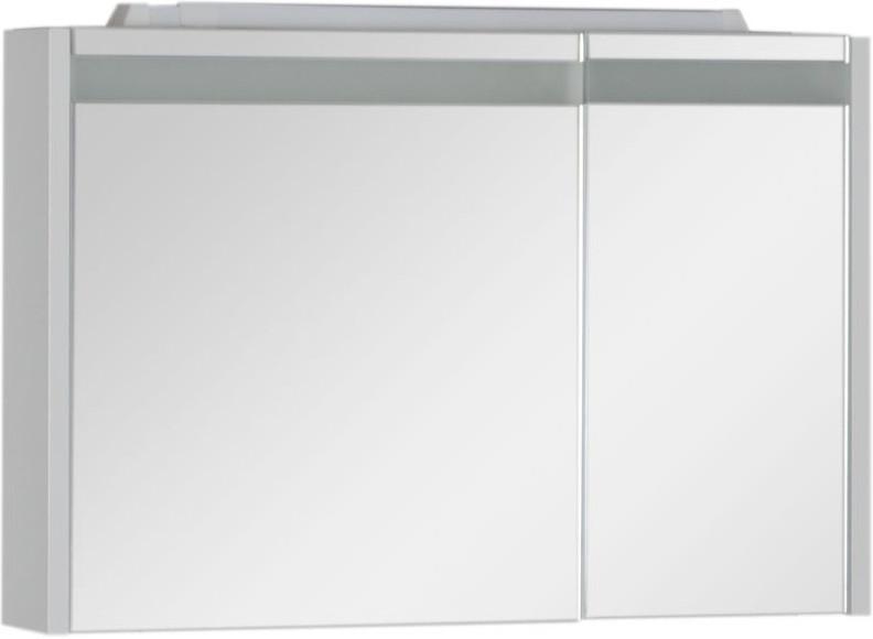 Зеркальный шкаф 89х60 см с подсветкой белый Aquanet Лайн 00165582 aquanet шкаф с зеркалом aquanet лайн 90 камерино l