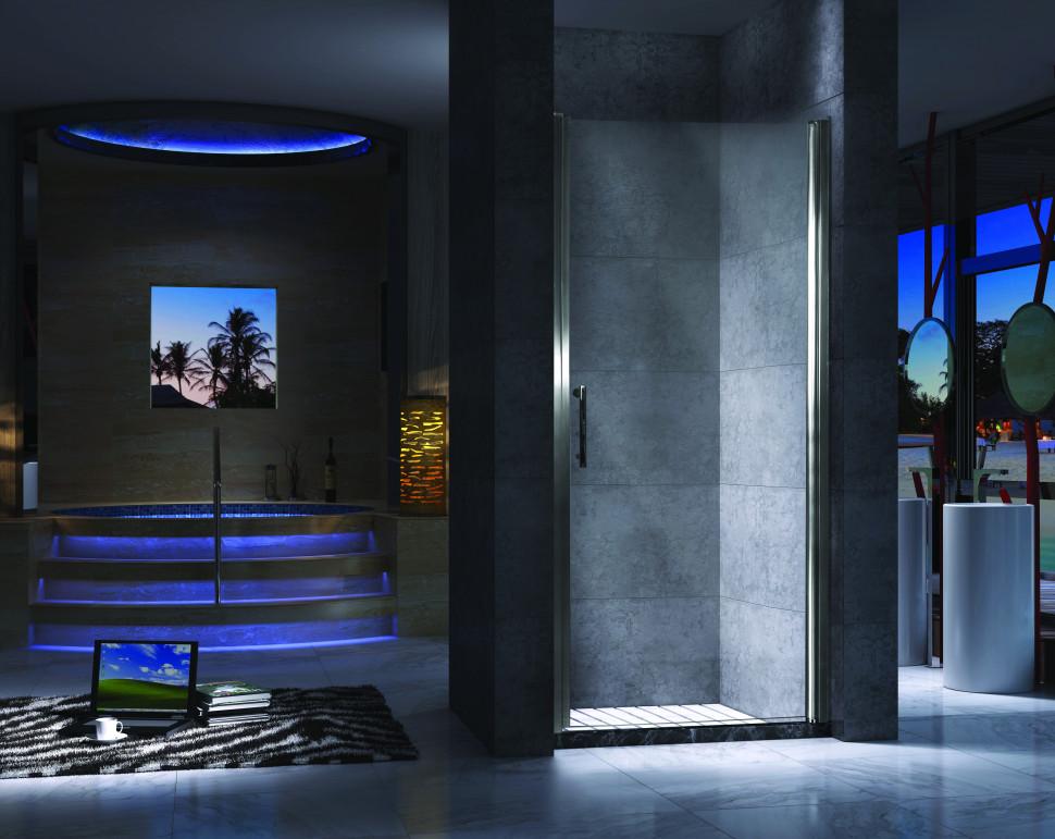 Душевая дверь распашная 80 см прозрачное стекло Esbano ES-80LD(R) шторка для ванны 150 см esbano es 1415 прозрачное