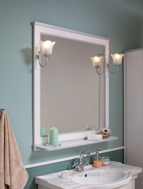 Зеркало 92,2х100 см белый/серебро Aquanet Валенса 00180040