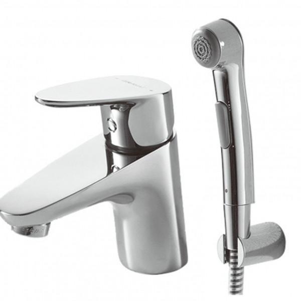 Смеситель для раковины с гигиеническим душем Bravat Drop F14898C-2 смеситель для умывальника раковины коллекция drop f14898c 1 однорычажный хром bravat брават